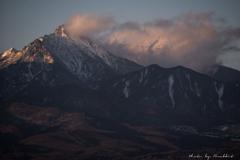 赤岳の峰、夕暮れ