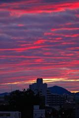 台風後の夕焼け雲・・・