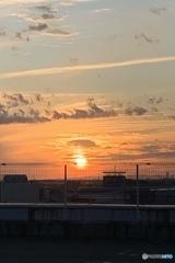 屋上で見た夕日