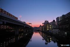浦島町の夕焼け