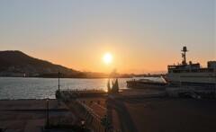 函館港 夕陽