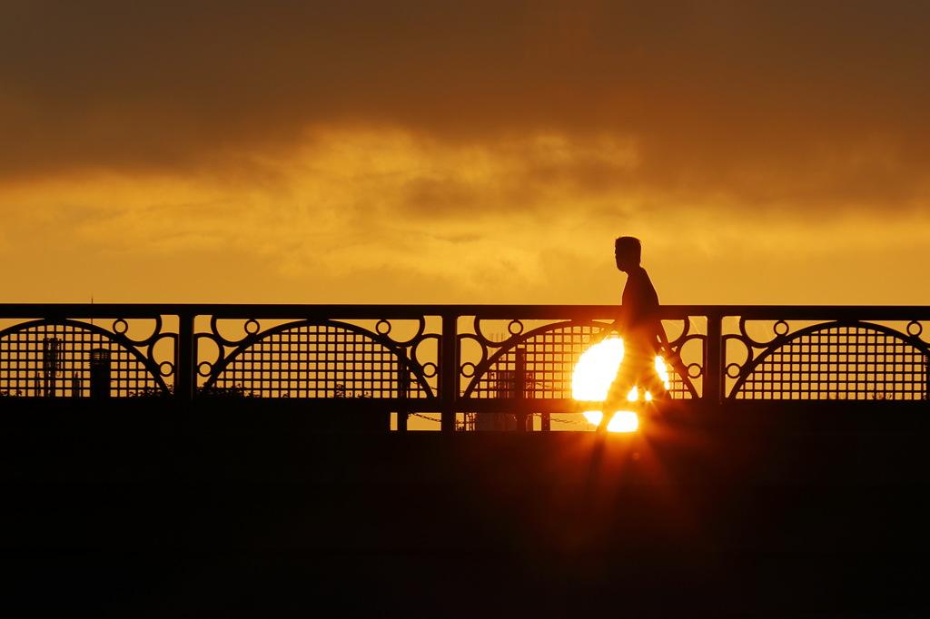 犀川の夕陽