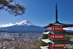 新倉山浅間公園からみる富士山