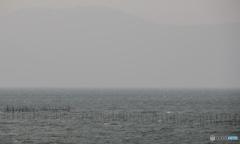春霞の琵琶湖