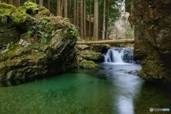 無名小瀑の大きな淵