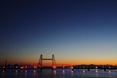 新年の夕暮れを昇開橋で2