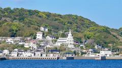 軍艦島クルーズ船から見た、聖ミカエル天主堂