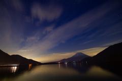 本栖湖から見る富士山とその周辺