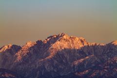 夕映えの剣岳