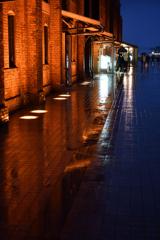 雨の赤レンガ倉庫