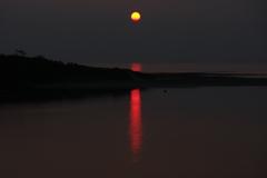 万瀬川の夕日(2)