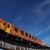 サマーブルーと紅花色の列車