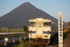 開聞岳と列車