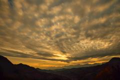 夕焼けの北アルプス