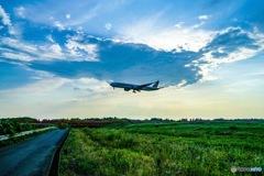 真夏の飛行機
