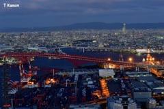 港大橋と大阪市街の夜景