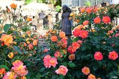 バラに囲まれたアンネ像