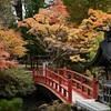 小さな社と橋と紅葉と