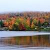紅葉と霧と湖