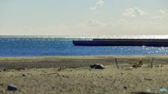 海と堤防…。