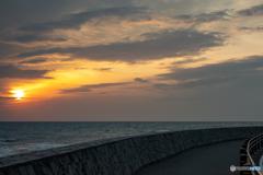 御前崎の夕日。