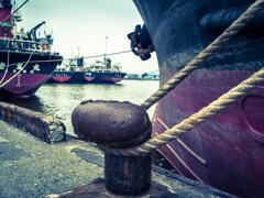 A bollard in the port