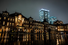 Tokyo Station in the rain