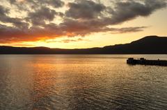 十和田湖の夕日⑤