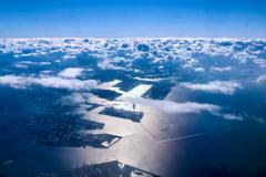 ANA 781 長崎行き、大阪湾 鳴尾浜上空