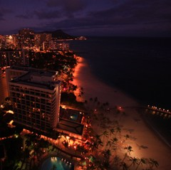 TWILIGHT ON WAIKIKI BEACH