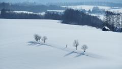 White silky snowy field