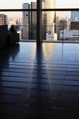 Shadow streaks reflected on the floor