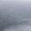 消えかかる川霧の中