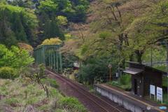 桜の散った駅