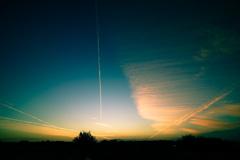 飛行機雲の共演