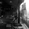 茶店の夕陽