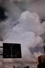 入道雲と道路看板 フィルム
