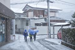 楽しい雪の道