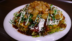 This is the okonomiyaki(えびトッピング)