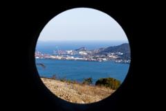 下関火の山砲台跡から関門海峡を望む(魚眼風?)