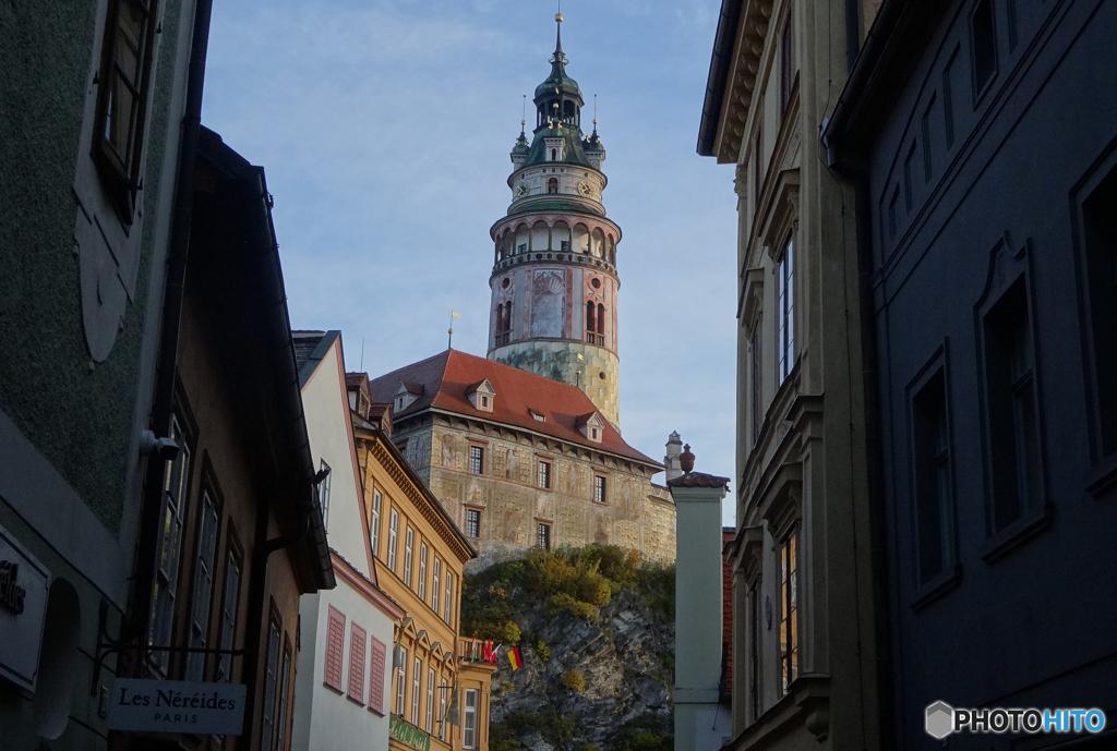 チェコ南部(665)チェスキー・クルムロフ城の塔