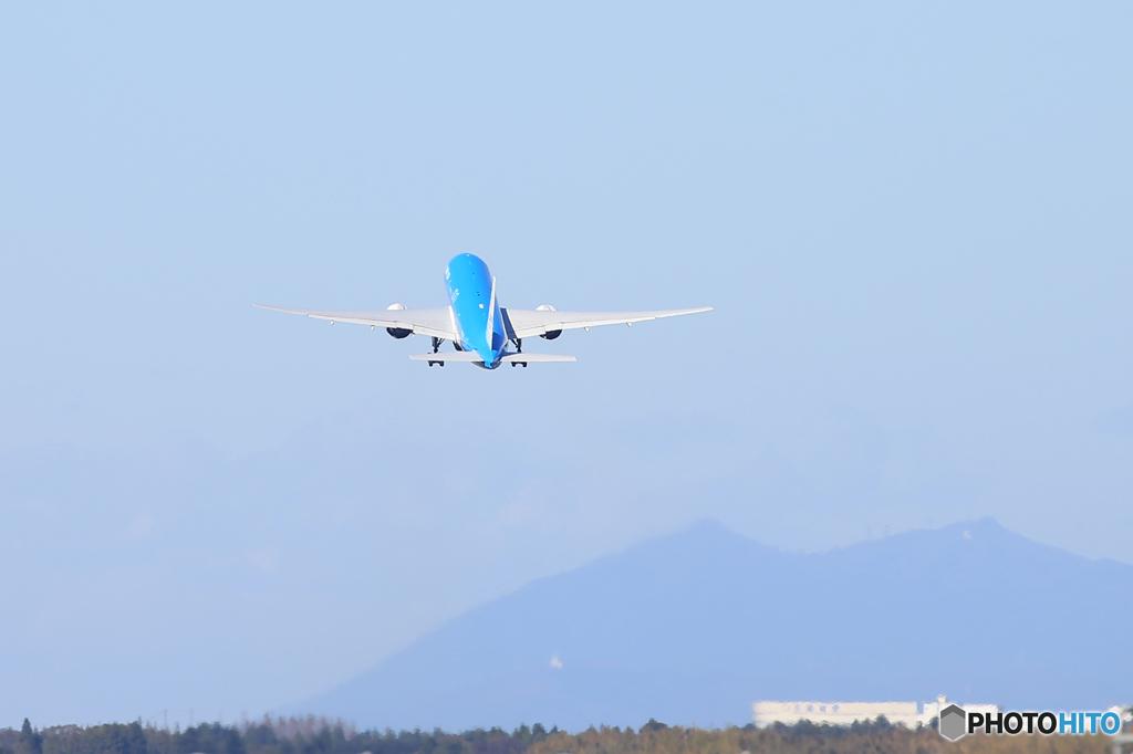 「空色」KLM 筑波山777-206 PH-BQFTakeoff