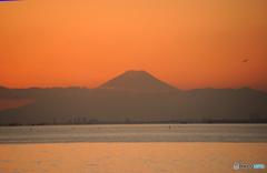 ☮  富士山の夕景と飛行機 ☮