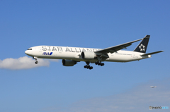 「晴れ」 ANA STAR 777-381 着地前