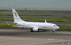 「曇り」 パレスチナ 大統領機 737-7GJ 出発