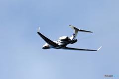 「青の空」プライベート機 ガルフG650 T7-ARN 出発