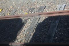 線路に車両の影