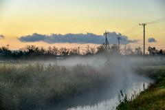 川霧流れる朝