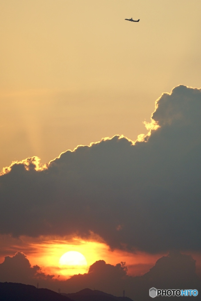 暑い夏の日の夕暮れ