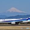 冠雪の富士山とANA…✈️